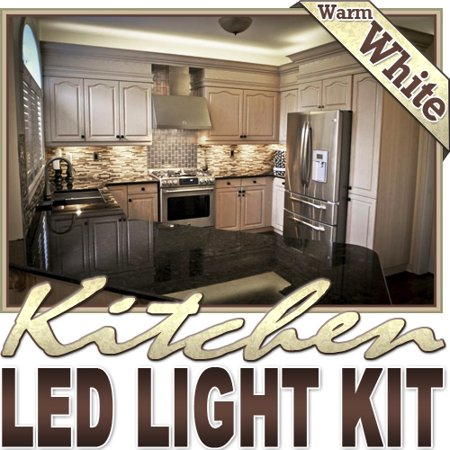 Biltek 16.4' ft Warm White Kitchen Pantry Wine Rack LED Strip Lighting Complete Package Kit Lamp Light DIY - Under Counters Microwave Glass Cabinets Floor Waterproof Flexible DIY 110V-220V ()