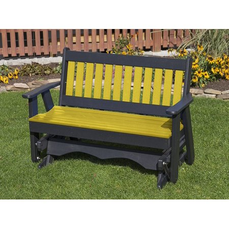 Yellow 4FT-POLY LUMBER Mission Porch GLIDER Heavy Duty EVERLASTING PolyTuf HDPE - MADE IN USA - AMISH CRAFTED ()