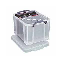 Really Useful Boxes(R) Plastic Storage Box, 32 Liters, 12in.H x 14in.W x 19in.D, Clear,