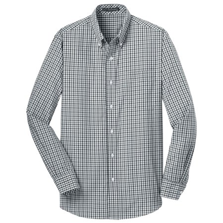 Cotton Gingham Shirt (Port Authority Men's Long Sleeve Gingham Easy Care Shirt )