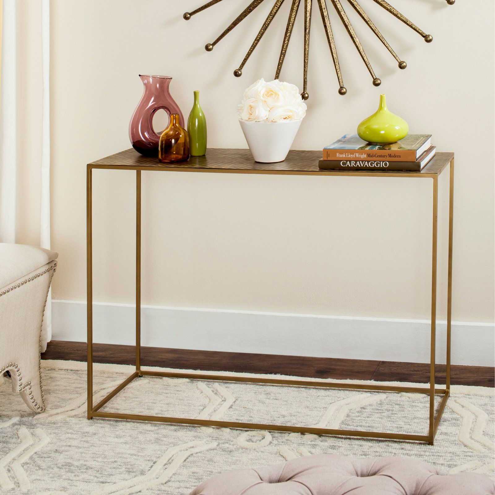 Safavieh Risa Matrix Console, Antique Brass