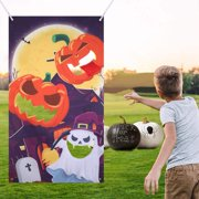 DecorX Halloween Toss Game Pumpkin Ghost Moon Banner with 3 Bean Bags for Kids Adults Indoor Outdoor Sports Fun Party Supplies Decoration