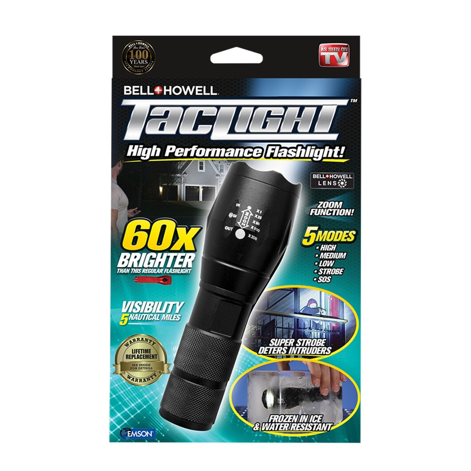 Bell + Howell Taclight 60X Brighter Tactical Flashlight with 5 Modes & Zoom Function As Seen on TV by E Mishan and Sons Inc