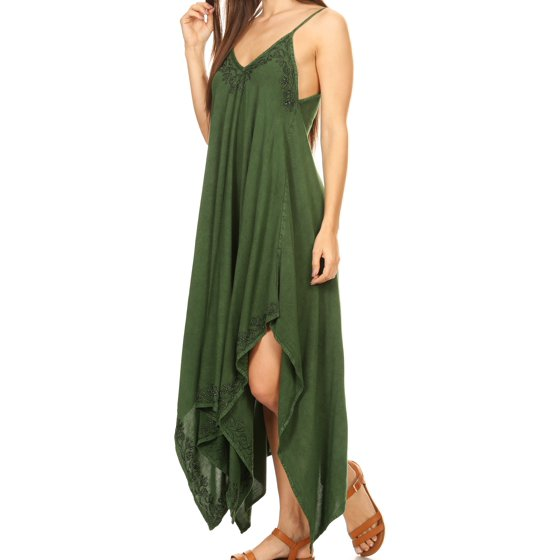 8301fc1d4de Sakkas - Sakkas Eleonora Stonewashed Embroidered Spaghetti Strap  Handkerchief Dress - Light Green - One Size Regular - Walmart.com