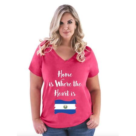 9258bfafb Normal is Boring - El Salvador Women Curvy Plus Size V-Neck Tee -  Walmart.com