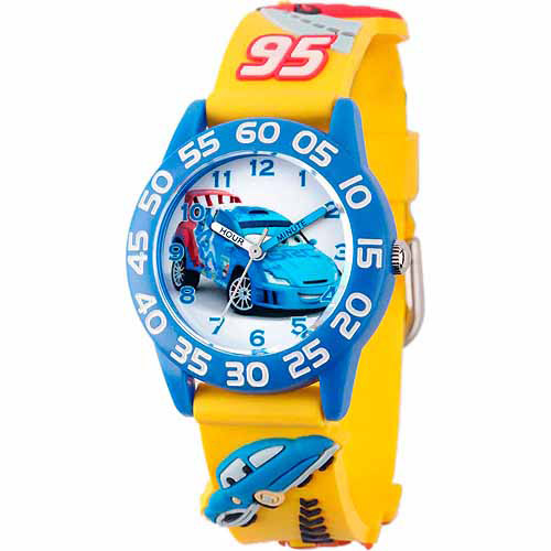 Disney Cars Raoul CaRoule Boys' 3D Plastic Watch, Yellow Strap