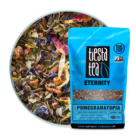 Tiesta Tea Pomegranatopia, Mixed-Berry Pomegranate White Tea, 200 Servings, 8 Ounce Bag, Low Caffeine, Loose Leaf White Tea Eternity Blend, Non-GMO Loose White Tea