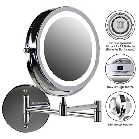 Starburst Nickel Mirror (Ovente Wall Mount LED Lighted Makeup Mirror, Battery Operated, 1x/7x Magnification, 7 Inch, Nickel Brushed)