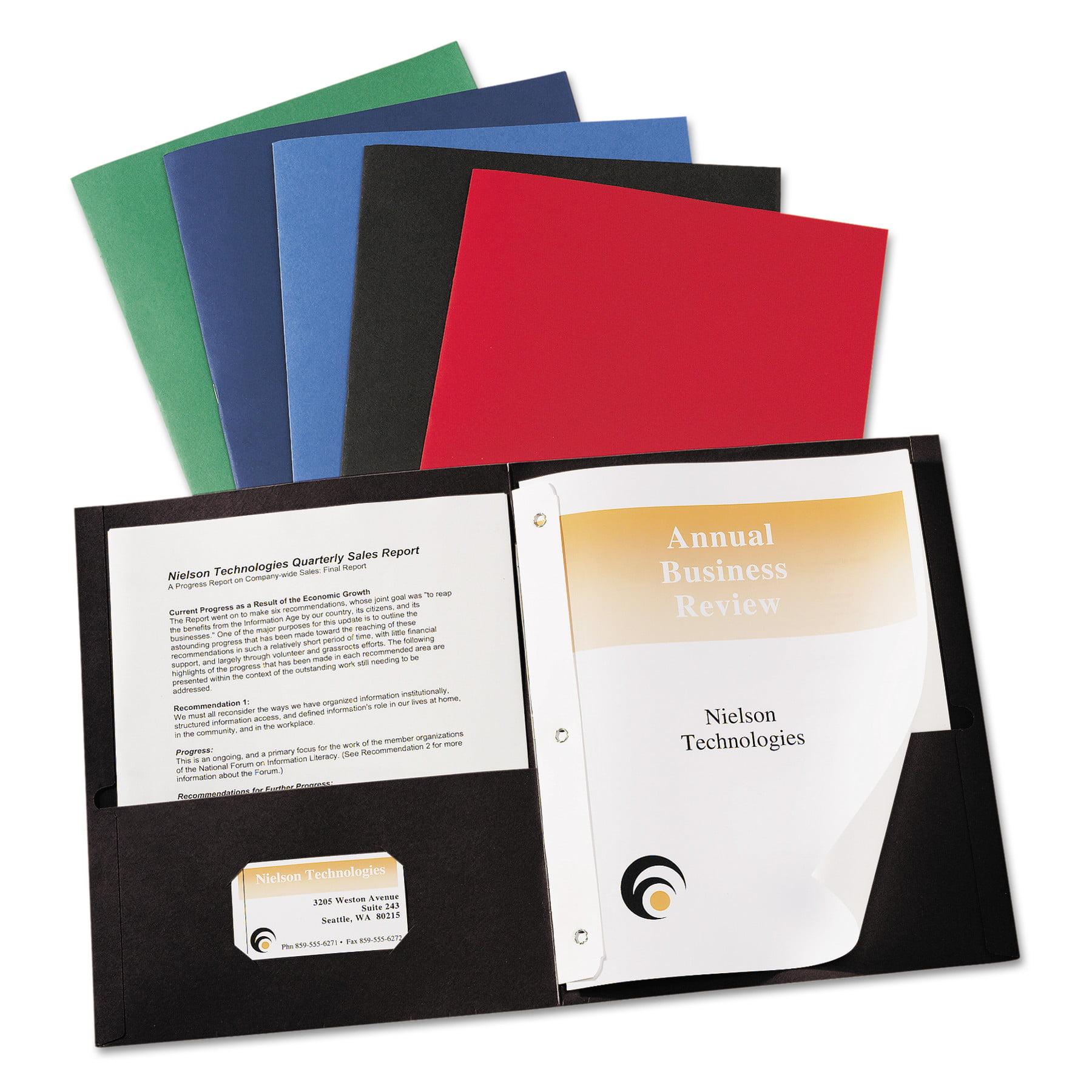 """Avery Two-Pocket Folder, Prong Fastener, Letter, 1/2"""" Capacity, Dark Blue, 25/Box"""