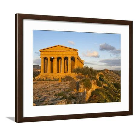 Tempio Di Concordia (Concord) at Sunset, Valle Dei Templi, UNESCO World Heritage Site, Agrigento, S Framed Print Wall Art By Stuart Black ()