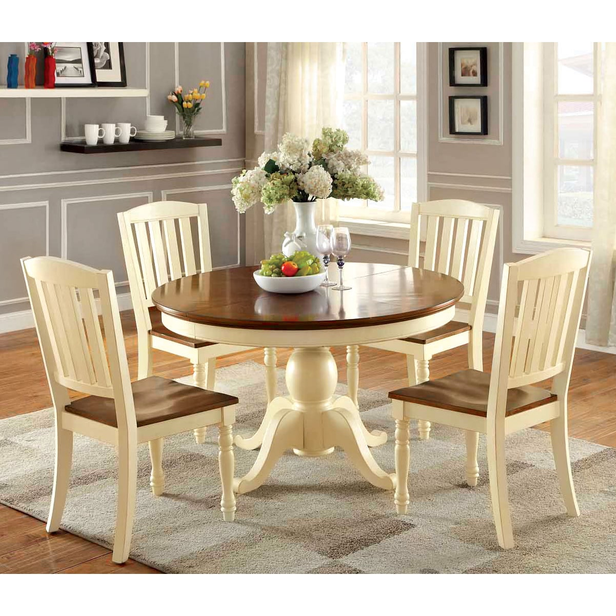 Furniture of America Bethannie 5 Piece Cottage Style Oval Dining Set