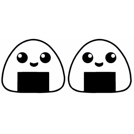 Onigiri Rice Ball Vinyl Sticker Decal Car Food Cute Japanese Bento Happy White