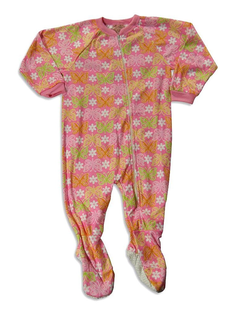 Carters Watch The Wear - Little Girls Footed Butterflies Blanket Sleeper, Pink 23794-4 pink butterflies / 4
