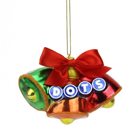 Northlight Seasonal Candy Lane Tootsie Roll Dots Orignal Gumdrop Candies Triple Bell Glass Christmas Ornament