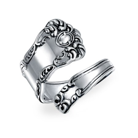 Boho Bypass Spoon Band Ring For Women For Men Oxidized 925 Sterling Silver Adjustable (Bypass Band Ring)
