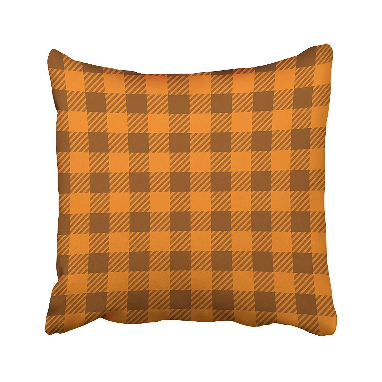 BPBOP Orange Abstract Buffalo Plaid Lumberjack Gingham Pattern Yellow Checkered Linen Pillowcase Cushion Cover 20x20 inch