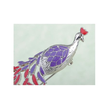 Purple Crystal Colorful Rhinestone Peacock Bird Feather Brooch Costume Pin (Womens Peacock Costumes)