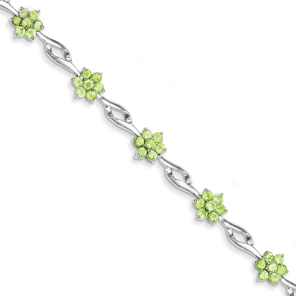 Sterling Silver Peridot Bracelet. Gem Wt- 4.07ct by Jewelrypot