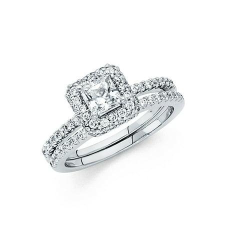 CZ Princess Halo Engagement Ring & Wedding Band 14k White Gold CZ Bridal Rings Set Side Stones (Engagement Rings Wedding Rings)