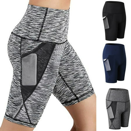 Women's High Waist Out Pocket Running Athletic Yoga Shorts Pants