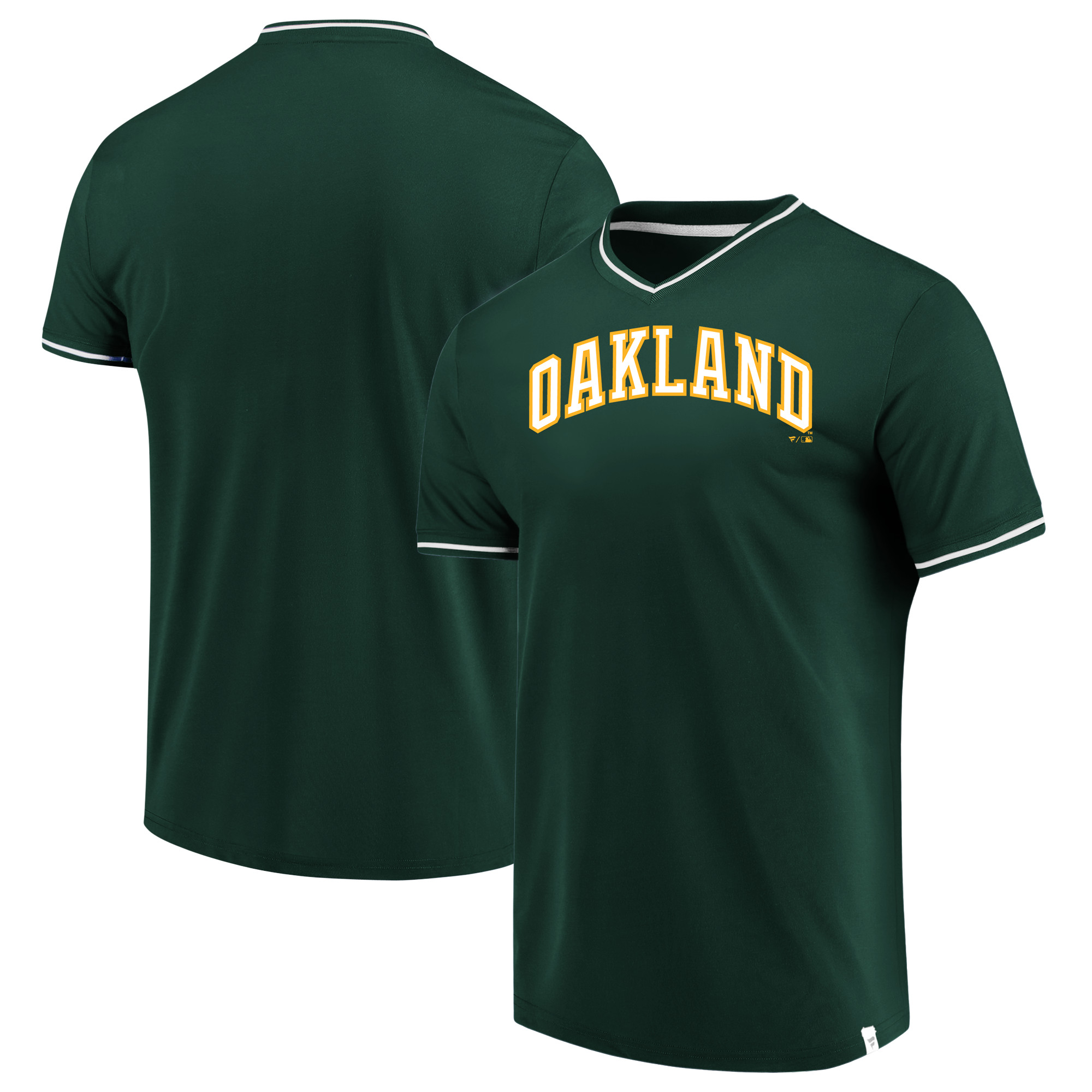 Oakland Athletics Fanatics Branded True Classics V-Neck T-Shirt - Green/White