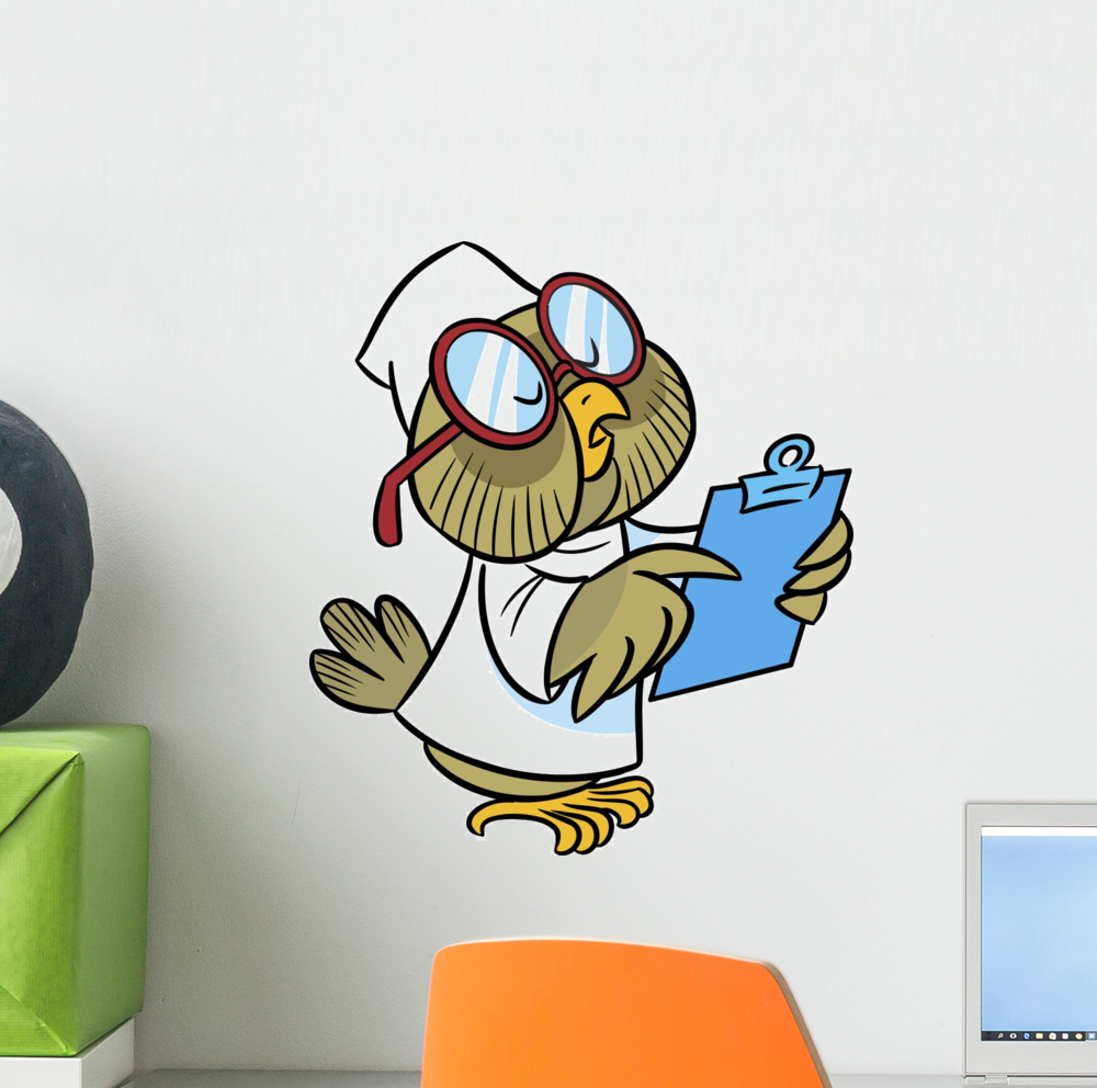 Owl-doctor Wall Decal Mural by Wallmonkeys Vinyl Peel and Stick Graphic for Girls (12 in H x 11 in W)