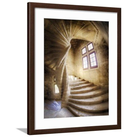 Chateau De Provence (France, Provence, Lourmarin, Spiral Staircase in Chateau De Lourmarin Framed Print Wall Art By Terry Eggers)