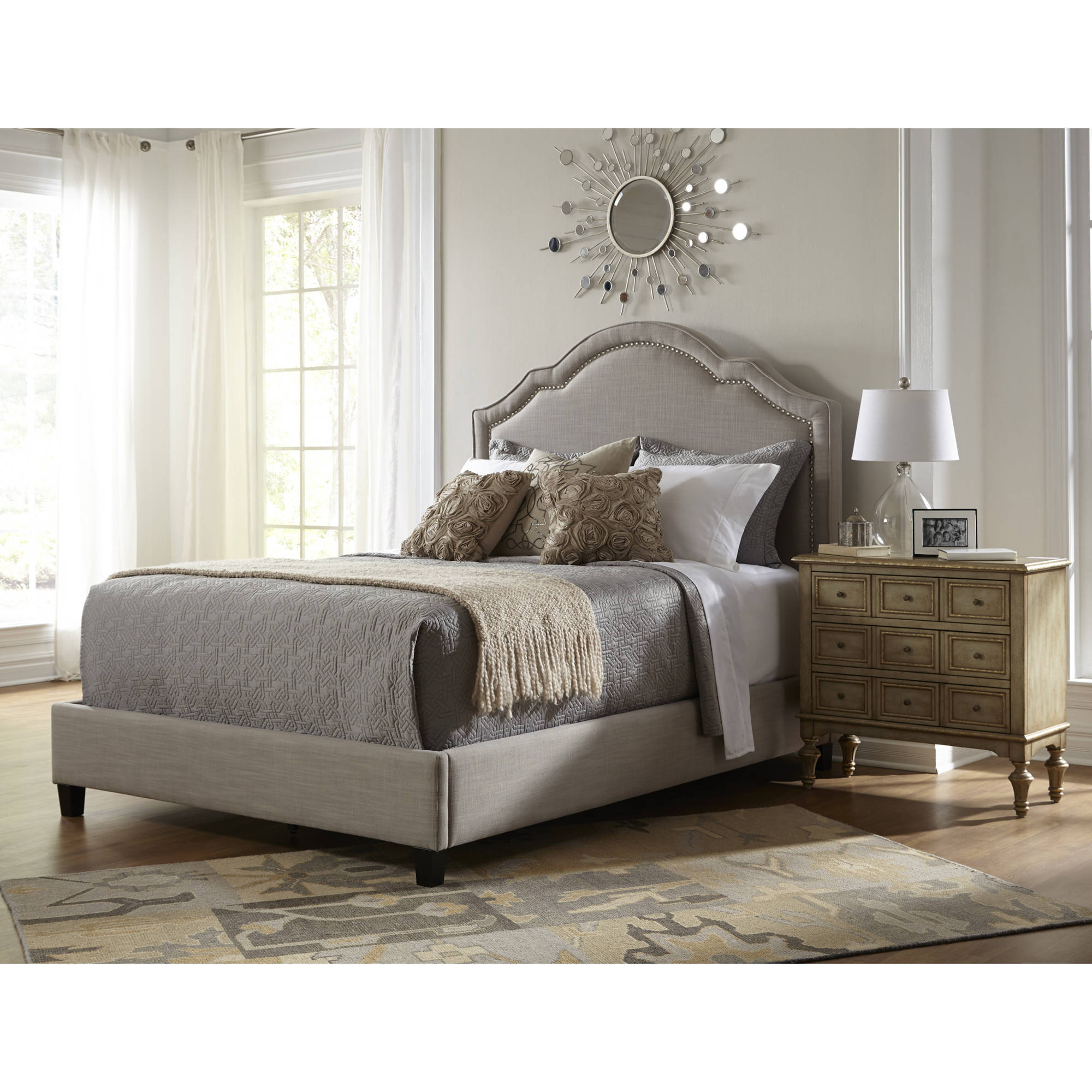 Pulaski Accentircs Home Shaped Nailhead Upholstered Headboard Only for Queen Size Bed