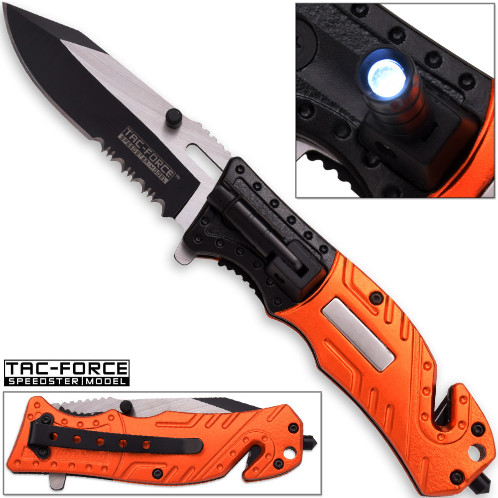 8in TAC Force EMT Hi-Vis Rescue Flashlight Pocket Knife Spring Assisted Folding