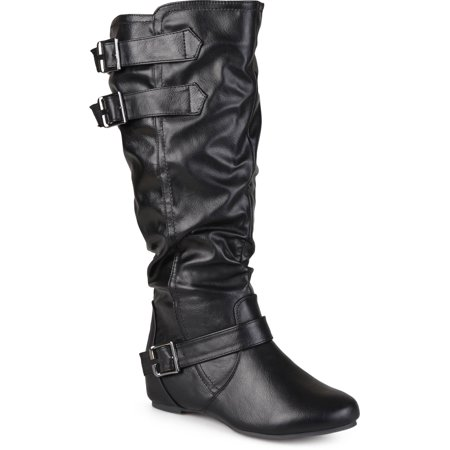 Women's Wide-Calf Low-Wedge Buckle Slouch Boot
