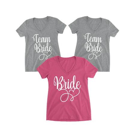 Ladies Bridal Suits - Awkward Styles Bride T-Shirt Team Bride Tshirt for Women Team Bride Vneck Shirts Bride Tops Bachelorette Tops Wedding Shirts Team Bride Proposal Shirts Team Bride Shirt Bride T-Shirt Bridal Gifts