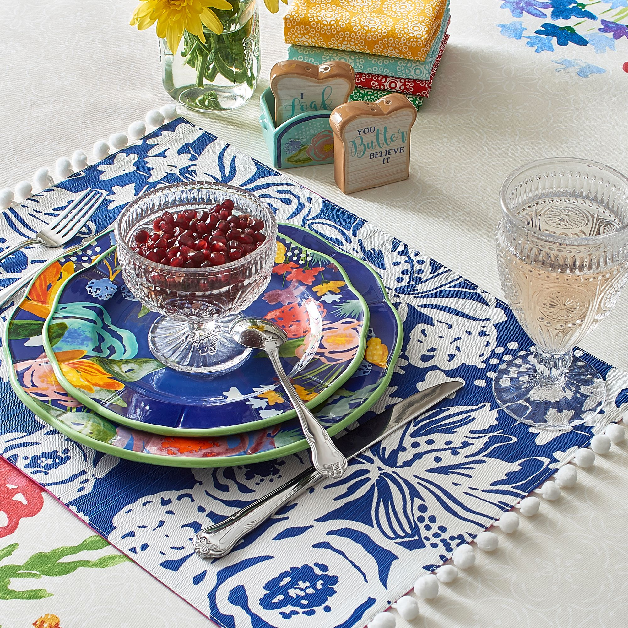 The Pioneer Woman Celia Pom Pom Reversible Placemat