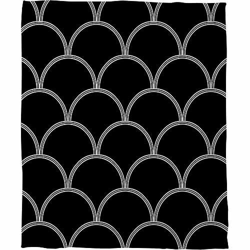 IDG Art Deco Circles Black and White Coral Fleece Throw