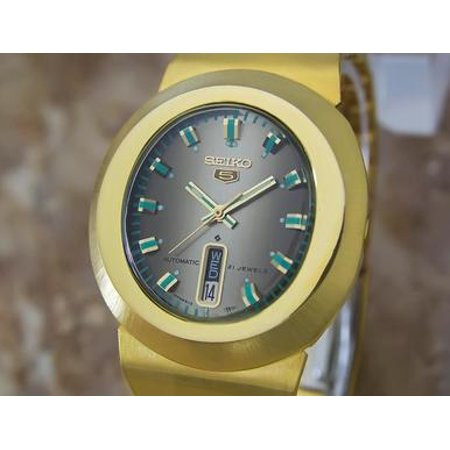 Seiko 5 Vintage Automatic 21 Jewels Gold Plated 1970s Mens Sports Watch