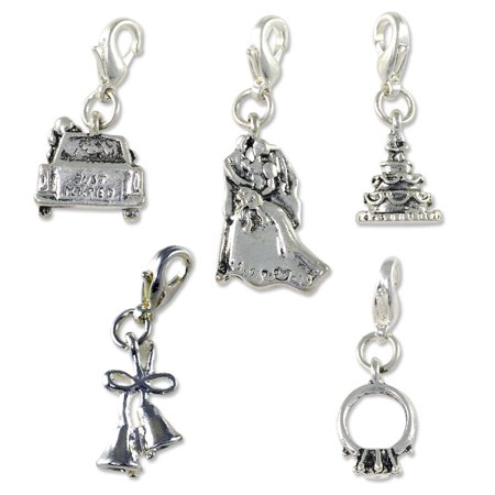 Marrage Charm for Jewelry Makings Set (Package of 5) with Clasp Silver Plated - Clasps For Jewelry Making