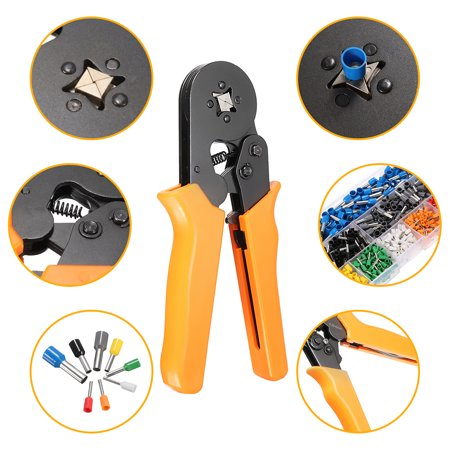 Adjustable Ratcheting Ferrule Crimper Plier Tool + 800 Connector Terminal Box Tool Kit