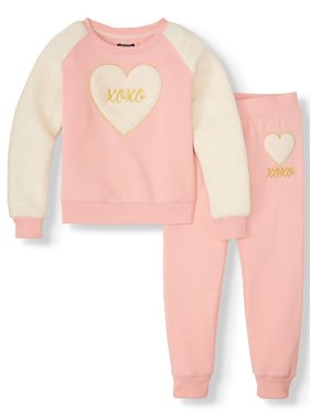 XOXO Sherpa Fleece Pullover and Active Jogger, 2-Piece Active Set (Little Girls & Big Girls)
