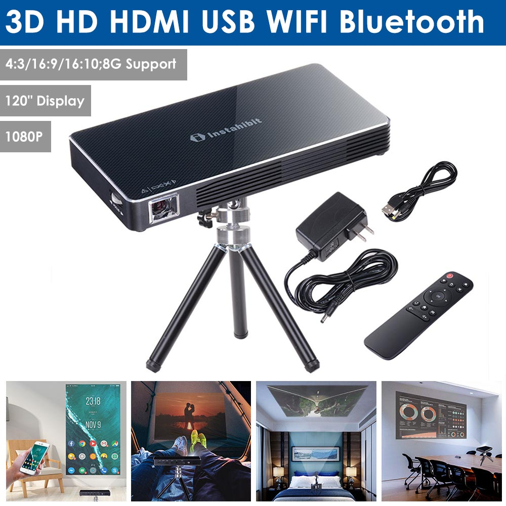 """Yescom Mini Portable DLP Projector 3D HD 120"""" Display HDMI USB WIFI Bluetooth 8G Support 1080P Home Theater Camping"""