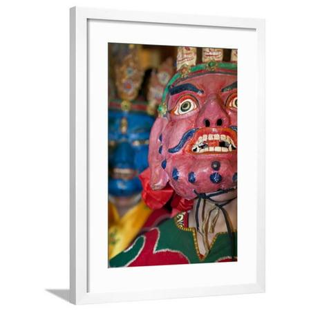 Masked Dancers at Tibetan Buddhist Monastery, Xinglong, Sichuan, China Framed Print Wall Art By Peter Adams