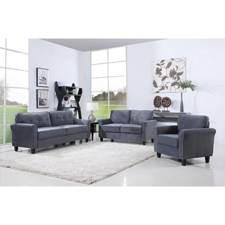 Superb Classic Living Room Furniture Set Sofa Love Seat Accent Chair Dark Grey Ibusinesslaw Wood Chair Design Ideas Ibusinesslaworg
