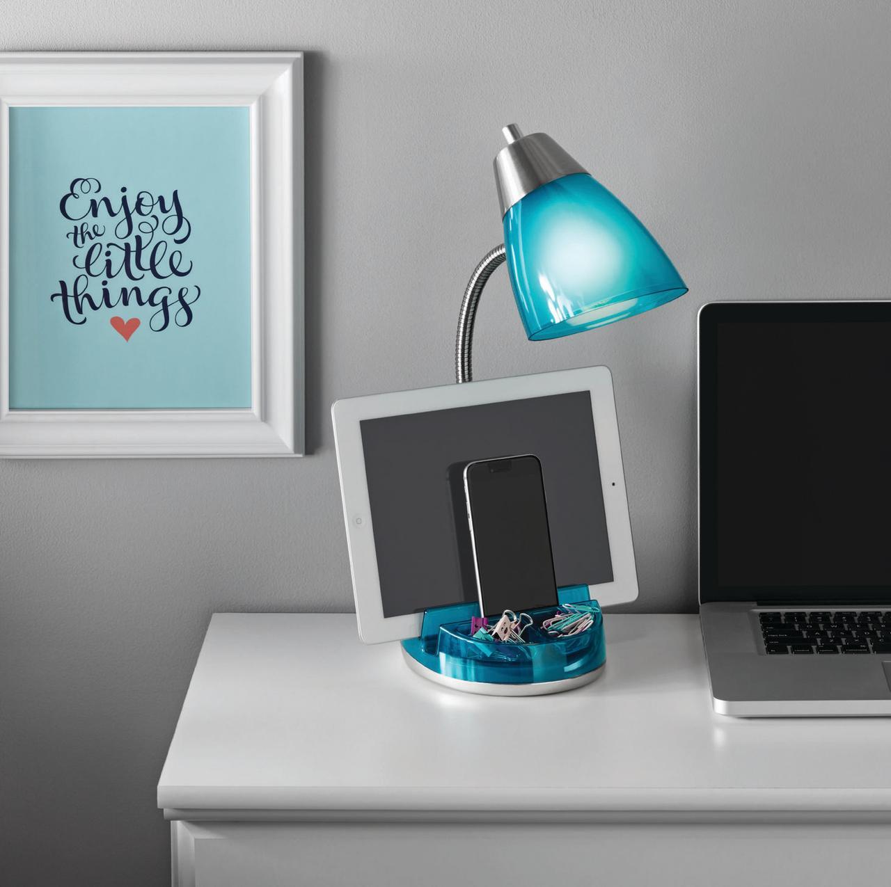 Mainstays Stylish Organizer Lamp, Blue, Multiple Colors