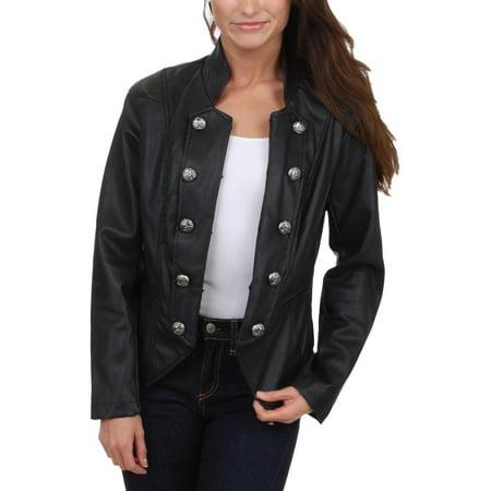 nanette lepore womens faux leather lapel bomber jacket