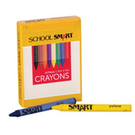 School Smart Non-Toxic Regular Crayon in Tuck Box, 5/16 X 3-1/2 in, Assorted Color, Pack of 16 - Glow In The Dark Crayons