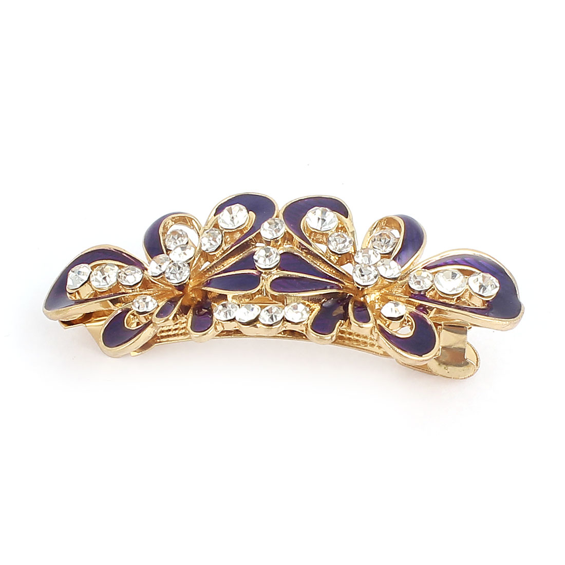Lady Rhinestone Decor Metal Flower Design Barrette Hair Clip Gold Tone Purple