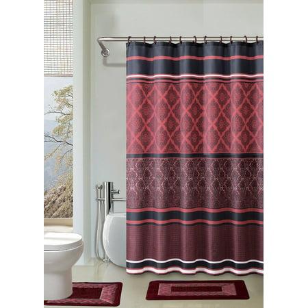 red and black shower curtain set. Crimson Red  Black 15 Piece Bathroom Accessory Set 2 Bath Mats Shower
