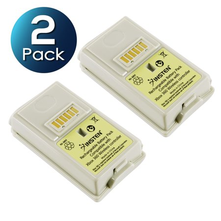 Insten Rechargeable Controller Battery Pack White (2 Packs) For Xbox 360 (Xbox 360 Rechargeable Battery)