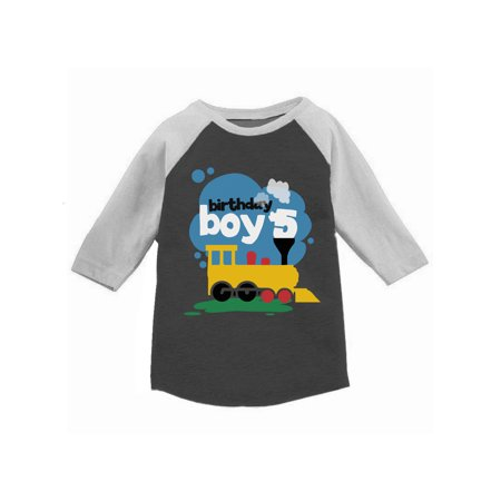 Awkward Styles Toy Train Birthday Boy Toddler Raglan 5th Birthday Jersey Shirt Boys Birthday Party Outfit Fifth Birthday Gifts for 5 Year Old Boy Birthday Shirt for Toddler Boy Truck Themed Party - 5th Element Outfit