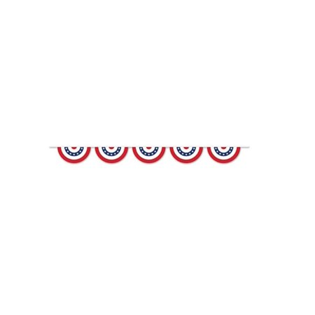Pack of 6 Red, White and Blue Patriotic Bunting Banner Hanging Decorations - Red White And Blue Banner