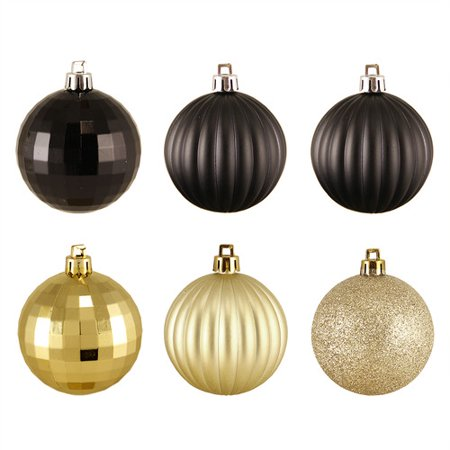 Northlight Seasonal 31754386 Black & Gold -Finish Shatterproof Christmas  Ball Ornaments - Northlight Seasonal 31754386 Black & Gold -Finish Shatterproof