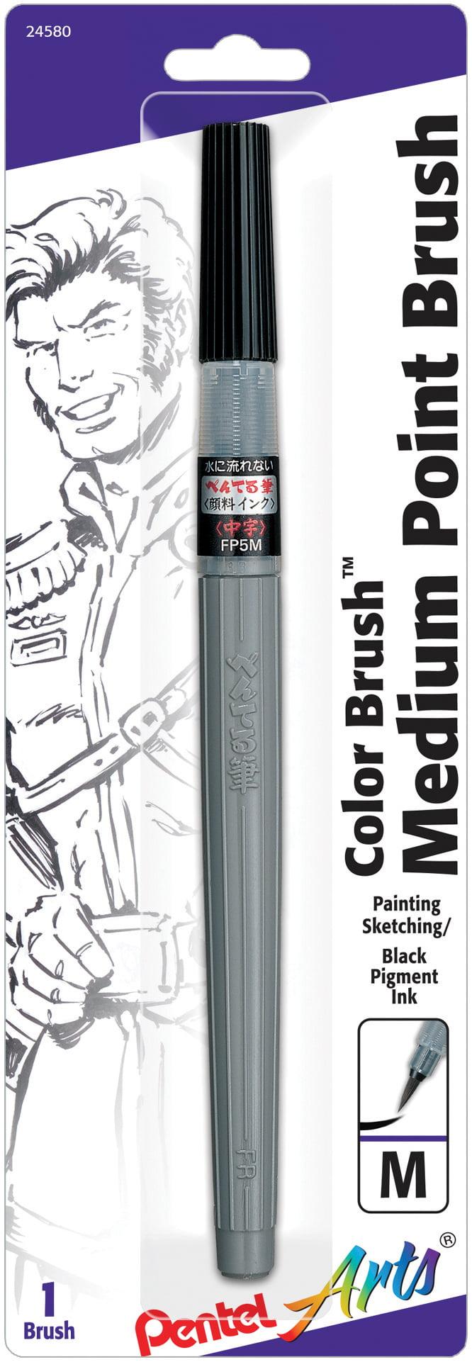 Pentel Black Permanent Brush Marker Pen Art Colour Pigment